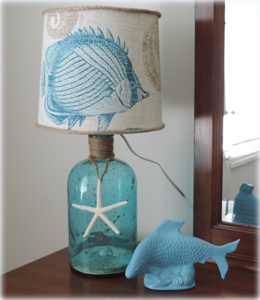 DIY Decor A Beach Inspired Bottle Table Lamp Beach Style Bedroom Other