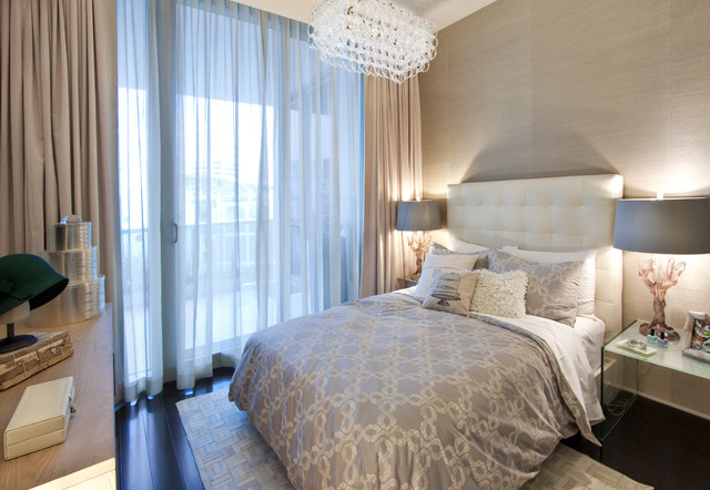 DKOR Interiors - Interior design at the Bath Club in Miami Beach, FL modern bedroom