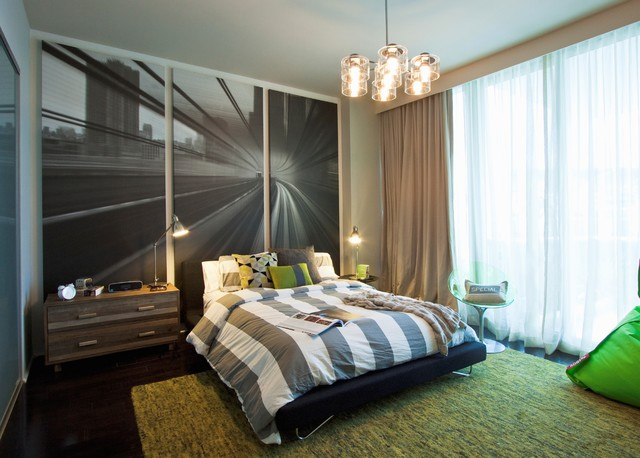 DKOR Interiors - Interior design at the Bath Club in Miami Beach, FL contemporary-bedroom