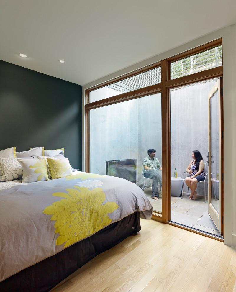 Bedroom - modern bedroom idea in San Francisco with gray walls