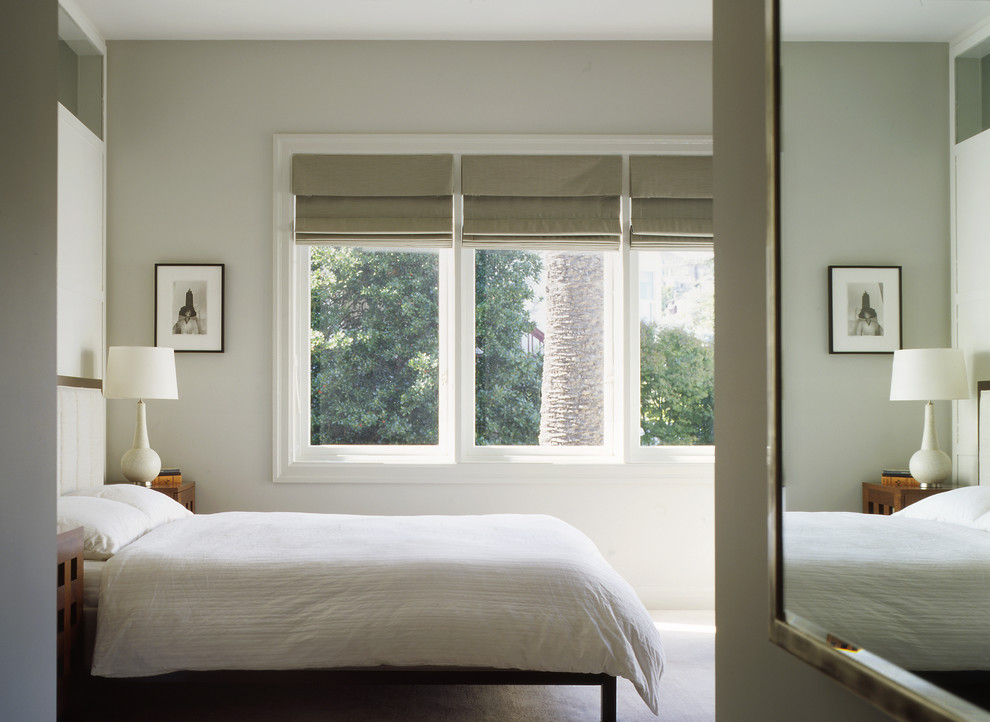 Inspiration for a large timeless master carpeted and gray floor bedroom remodel in San Francisco with gray walls and no fireplace