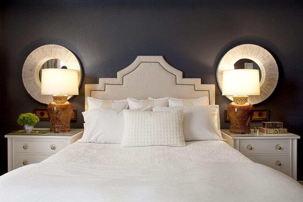 Inspiration for a contemporary bedroom remodel in Orange County with black walls