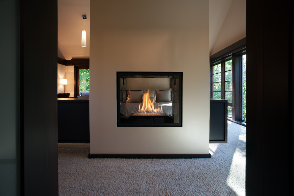 Double Sided Fireplace In Master Suite, 2 Sided Fireplace Ideas