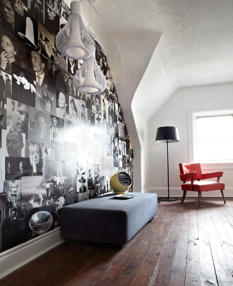 Bedroom - contemporary bedroom idea in Toronto with white walls