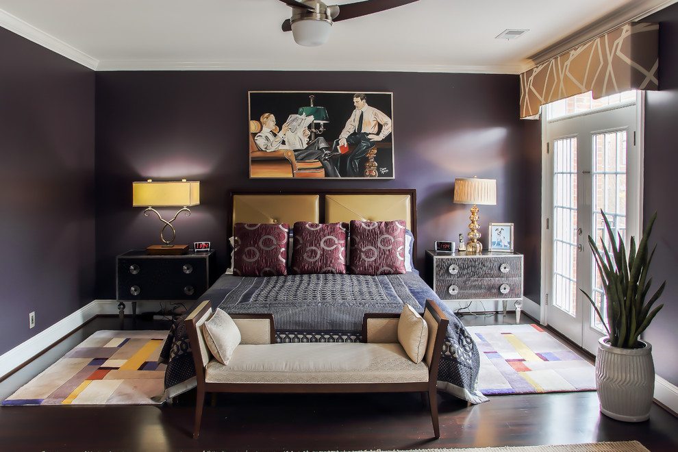 Example of a large trendy master dark wood floor and brown floor bedroom design in Other with purple walls and no fireplace