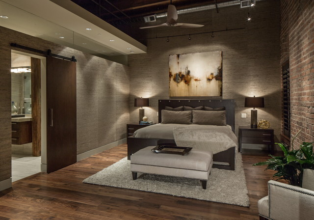 Quarto Rustico ~ Downtown Penthouse Contemporary Bedroom omaha by Interiors Joan and Associates