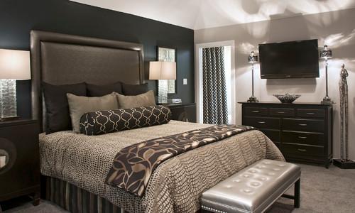 黒系のアクセントクロスを使った寝室の事例
