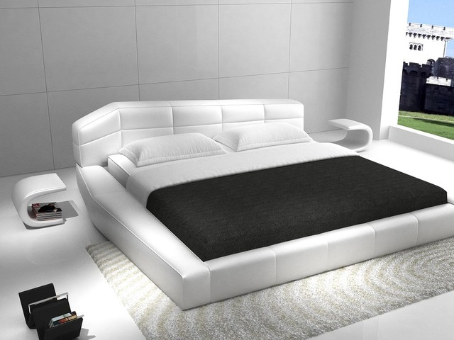 Dream   Contemporary White Leather Platform Bed Contemporary Bedroom