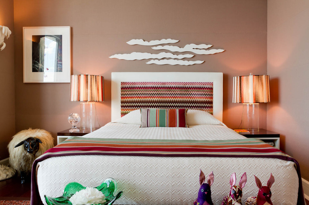 Trendy bedroom photo in New York with brown walls