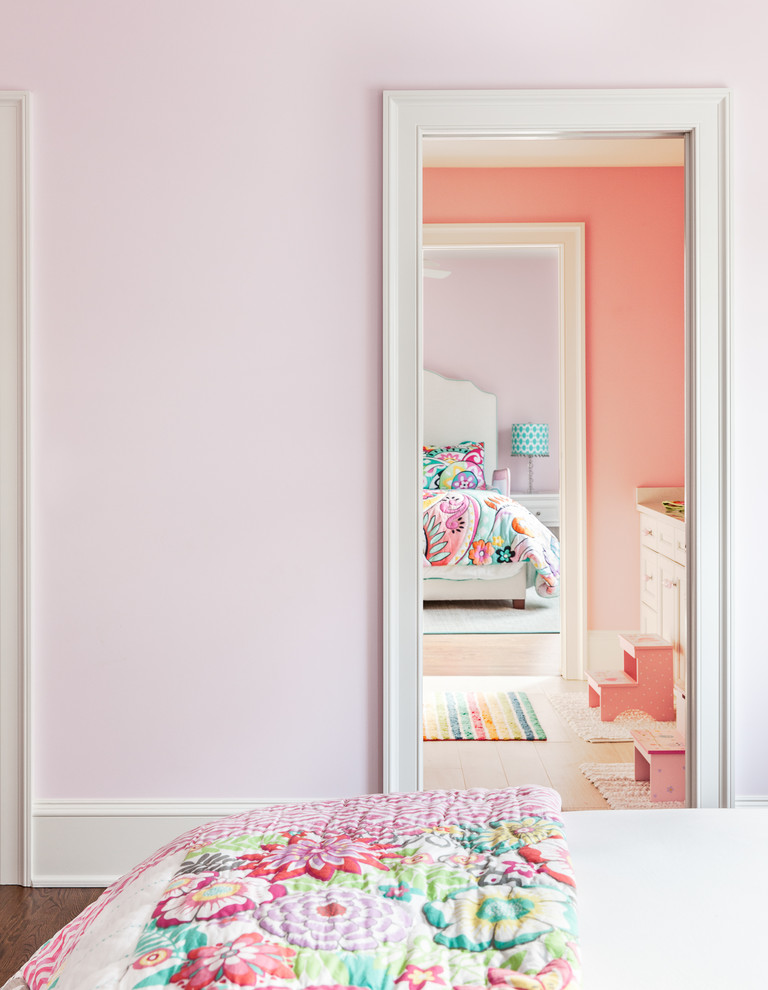 Bedroom - traditional bedroom idea in New York with pink walls