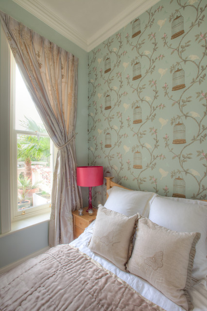Duck Egg and Pink Bedroom contemporary bedroom