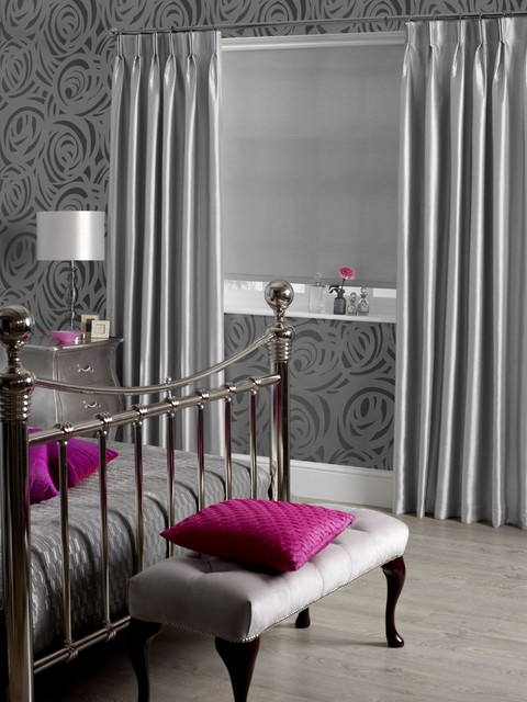 Dupioni Faux Silk Platinum Modern Bedroom Other By