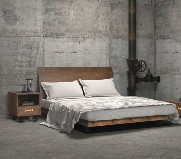 Inspiration for an industrial bedroom remodel in New York