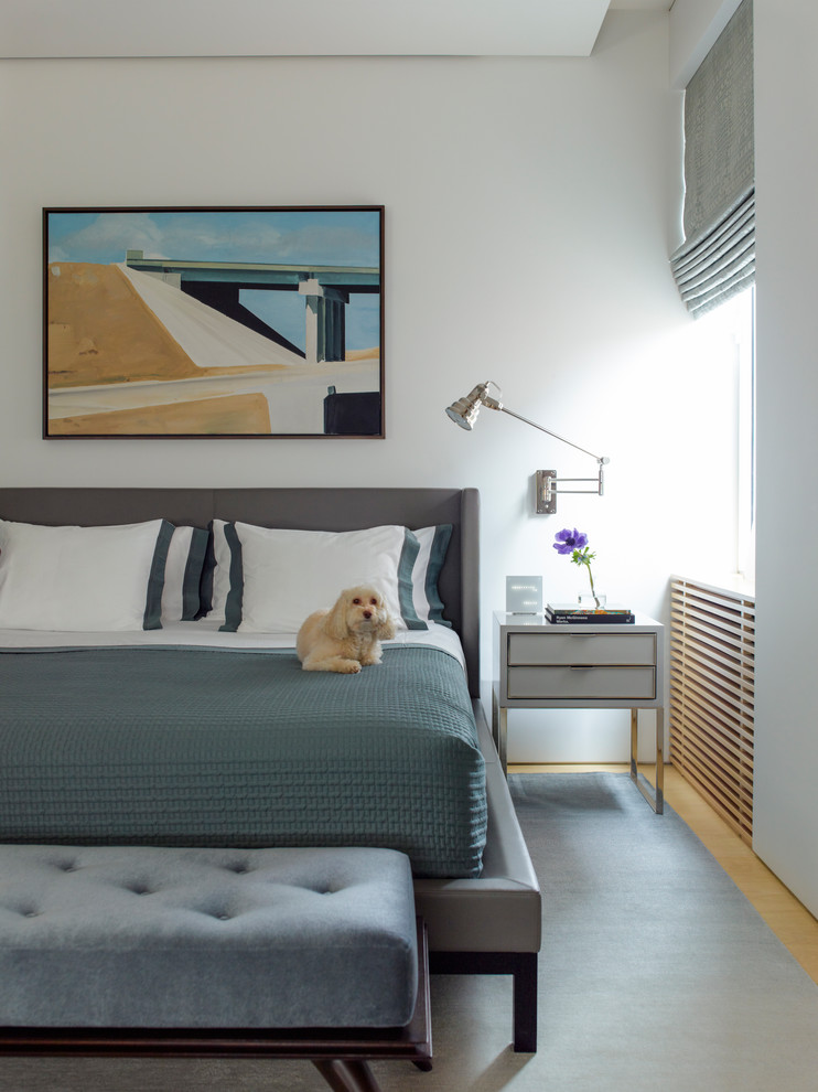 Inspiration for a transitional master bedroom remodel in New York with white walls