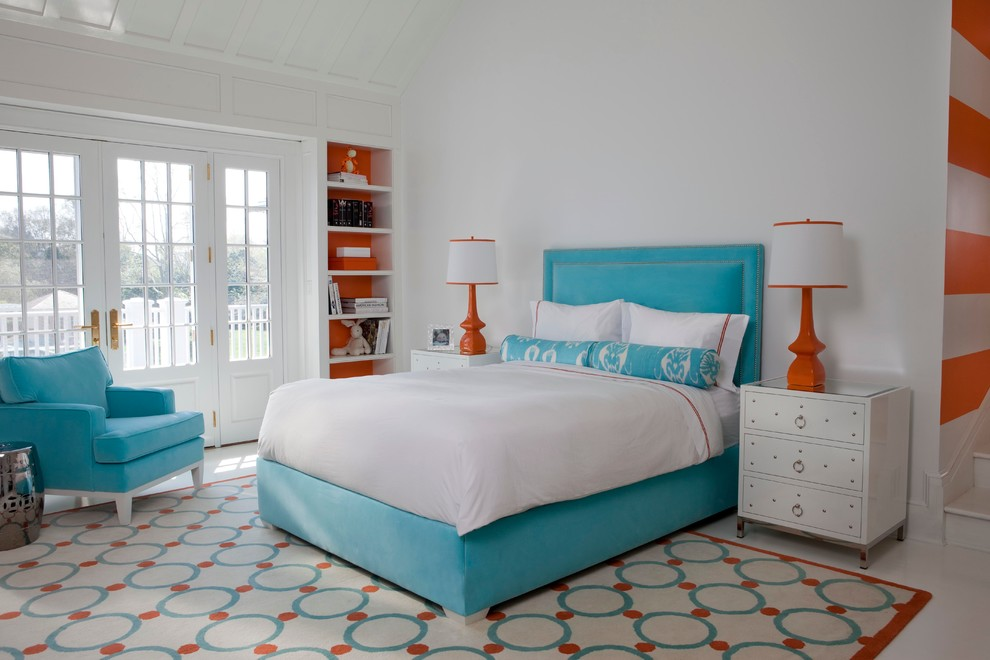 Large trendy white floor bedroom photo in Atlanta with white walls and no fireplace