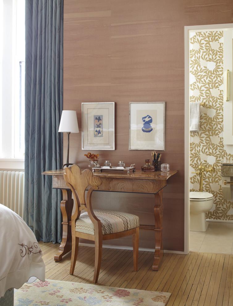 Bedroom - eclectic bedroom idea in Chicago with brown walls