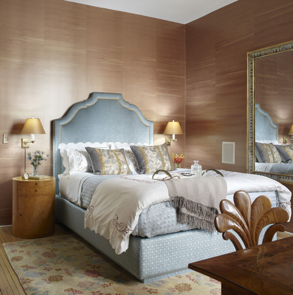 Inspiration for a timeless bedroom remodel in Chicago with brown walls