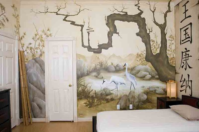 Eastern themed children 39 s bedroom mural for Asian wallpaper mural