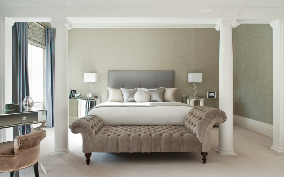 Transitional bedroom photo in London