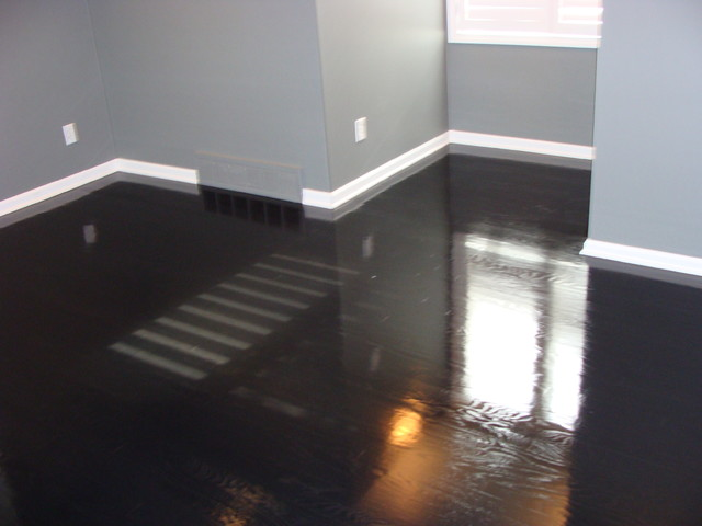 Ebony High Gloss Wood Floors Modern Bedroom Kansas City By