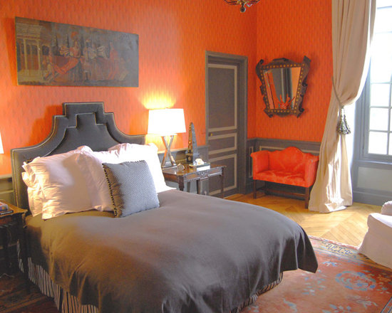 Grey and orange home design ideas pictures remodel and decor - Orange bedroom decorating ideas ...