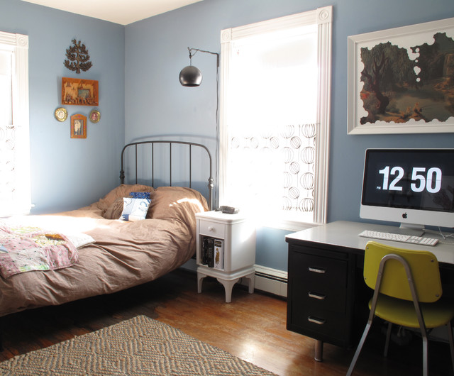 blue bedroom eclectic bedroom