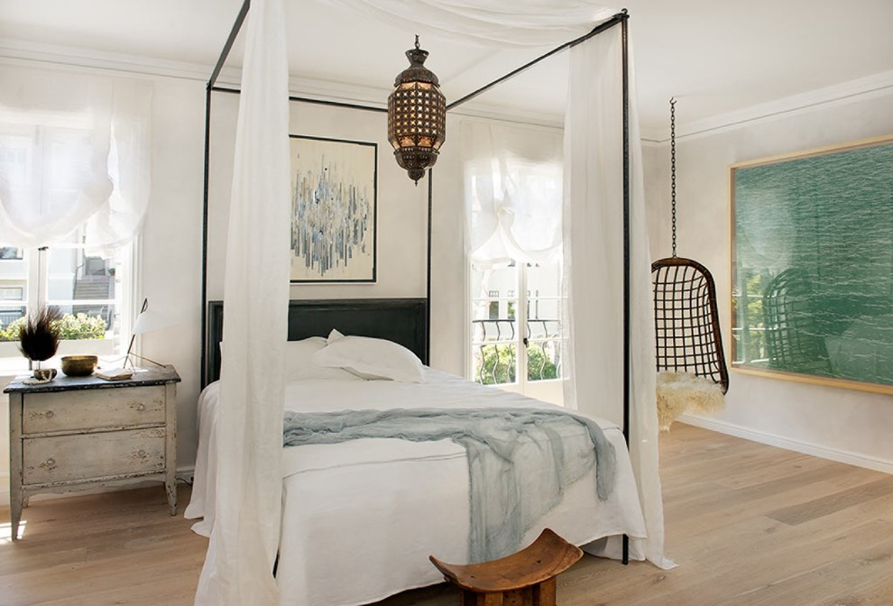 Cottage chic medium tone wood floor bedroom photo in San Francisco
