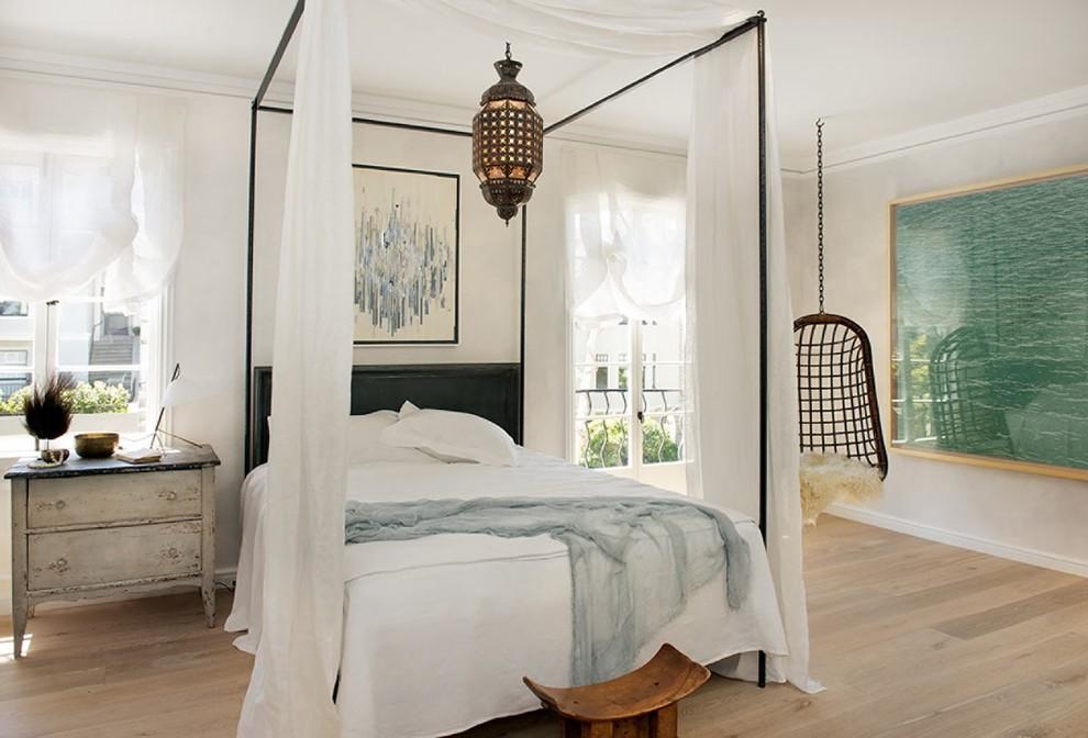 Cottage chic medium tone wood floor bedroom photo in San Francisco