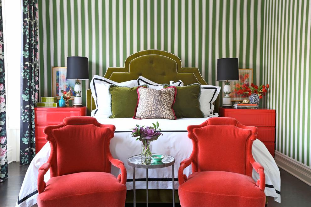 Bedroom - eclectic dark wood floor bedroom idea in Chicago with green walls and no fireplace