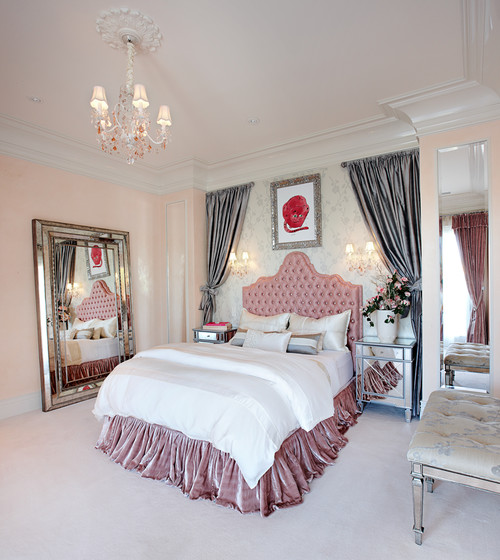 White And Pink, This Elegant Eclectic Bedroom Décor Suits A Demure Girl.  The Headboard Of The Bed Is Tufted With Swarovski Crystals.