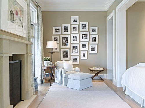 beige room with gallery wall