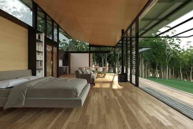 Eco Cabin Modern Bedroom Sunshine Coast By Robinson Architects