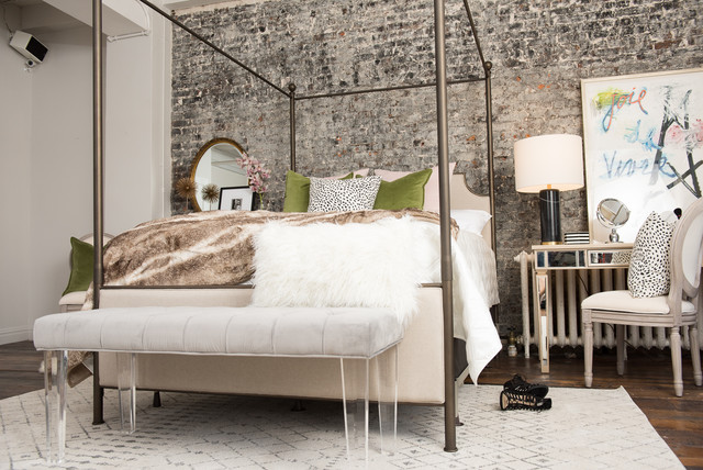 Edgy glam eclectic bedroom by stearns foster for Edgy bedroom ideas