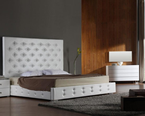 Elbrus - White Modern Platform Bed with Crystals - Features: