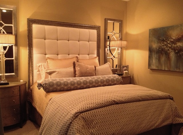 Elegant master bedroom in a small space eclectic for Bedroom elegant designs