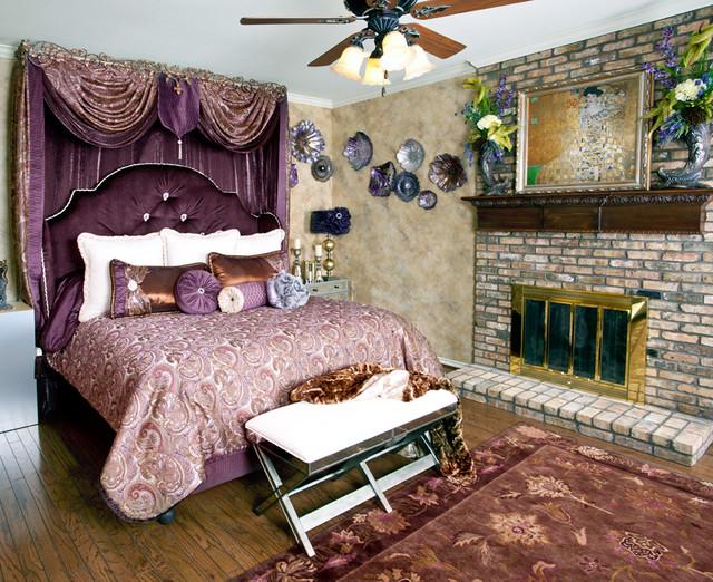 Elegant purple room set traditional bedroom dallas for Elegant purple bedroom ideas