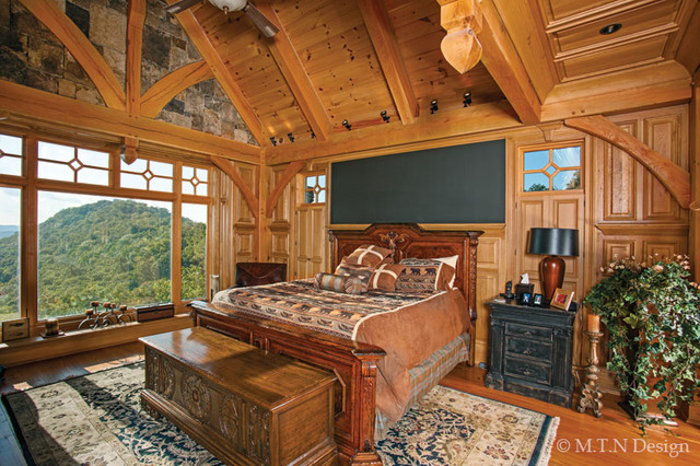 Elegant timber frame home in kentucky rustic bedroom for Rustic elegant bedroom