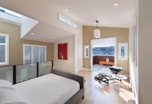 Example of a trendy loft style light wood floor and beige floor bedroom  design in. White And Beige Ideas   Houzz