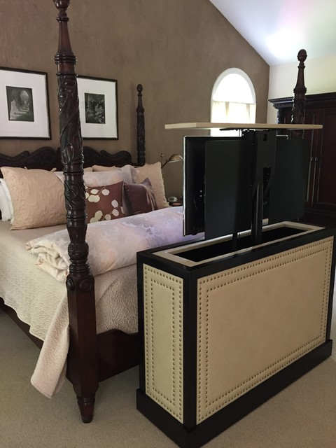 End Of Bed Leather Studded TV Lift Cabinet By Cabinet