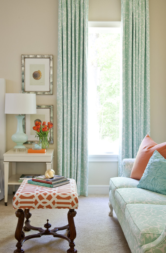 Inspiration for a timeless carpeted bedroom remodel in Little Rock with beige walls