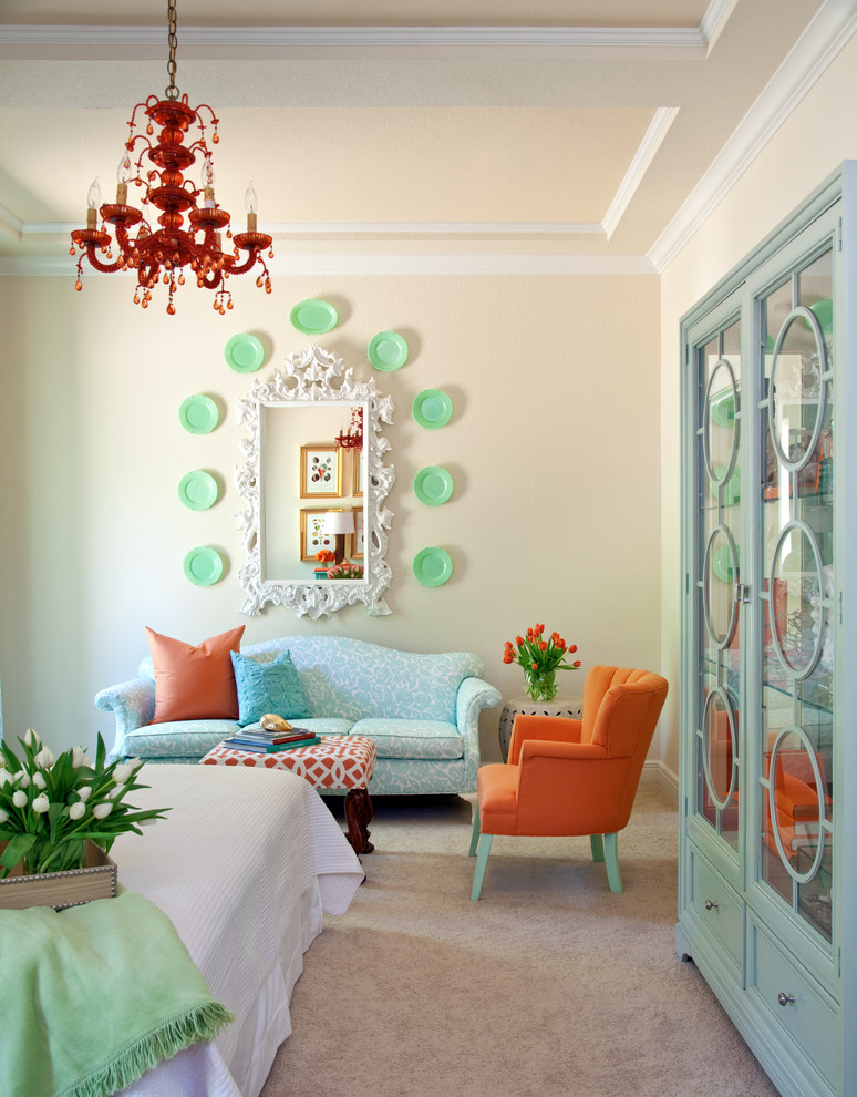 Small eclectic guest carpeted and beige floor bedroom photo in Little Rock with beige walls
