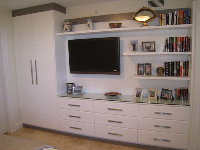 Entertainment center contemporary bedroom tampa by artisan closets and trim inc for Bedroom entertainment center