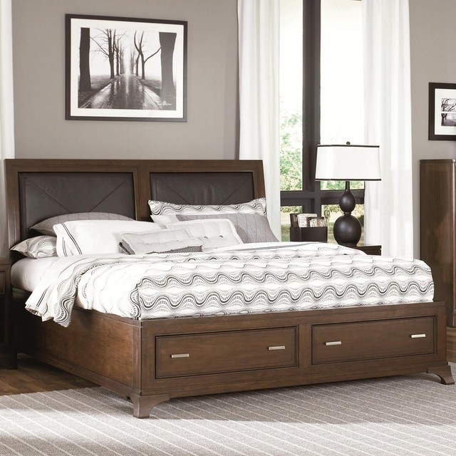 Essex California King Leather Accent Bed with Storage Footboard traditional-bedroom