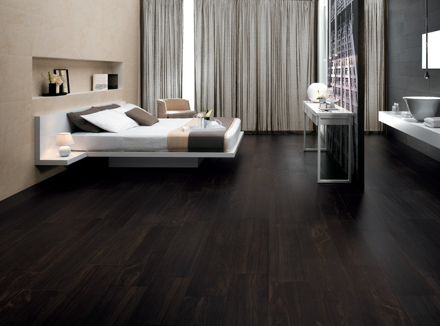 Etic ebano wood inspired porcelain tiles contemporary for Bedroom ideas dark wood floor
