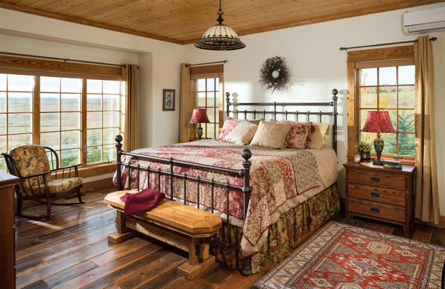European Inspired Timber Frame Home - Country Master Bedroom ...