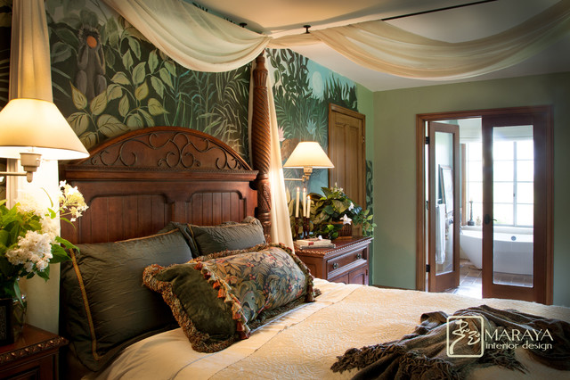 Exotic master bedroom tropical bedroom santa barbara for English cottage bedroom