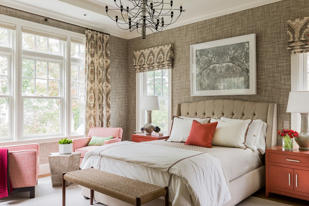 Bedroom - large transitional guest medium tone wood floor and brown floor bedroom idea in Boston with brown walls and no fireplace