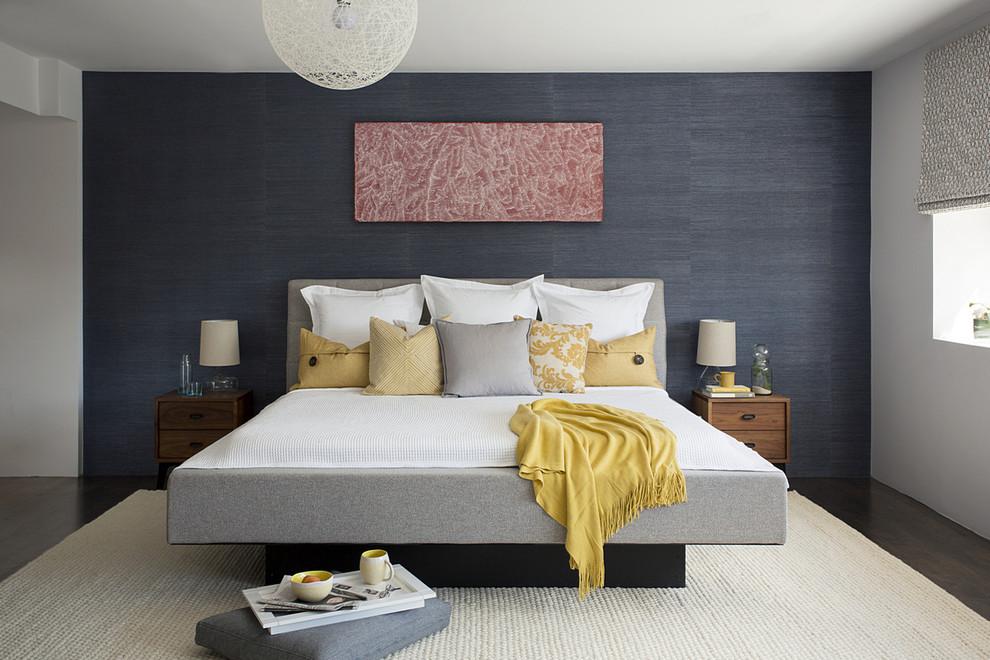 Mid-sized trendy master dark wood floor bedroom photo in Boston with blue walls