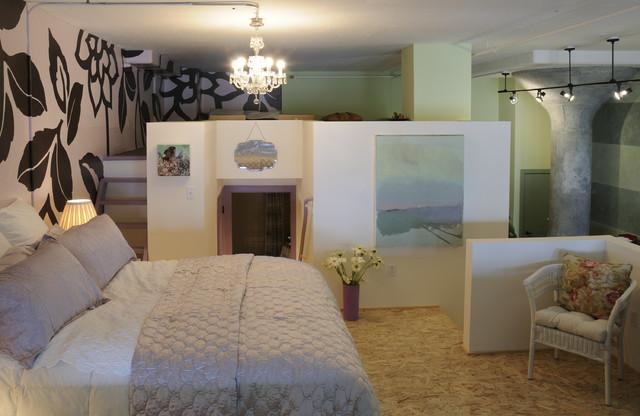 Example of an urban loft style plywood floor bedroom design in San Francisco. Fancy Bedroom   Houzz