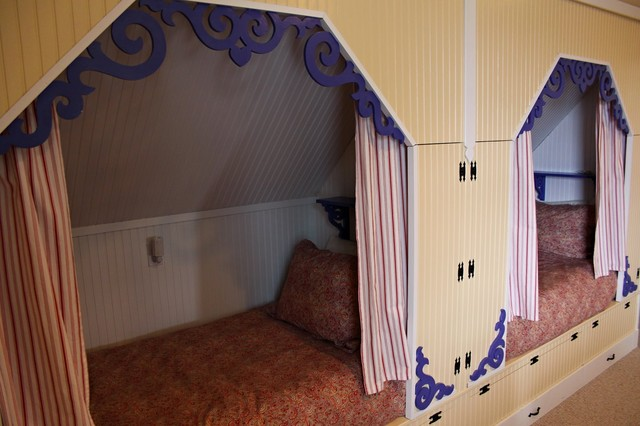 fanciful third floor retreat area for children at our beach house (bunks) eclectic-bedroom